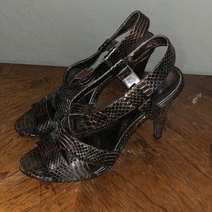 Inc short heel snake print shoes